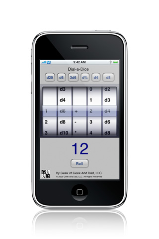 screenshot of dial-a-dice in operation